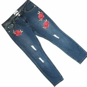 Deja Blue Embroidered High Rise Distressed Jeans